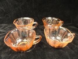 Pink Princess Depression Glass Coffee Cups Set of 4 - $12.49