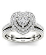 IGI Certified 0.50 Ct 14K White Gold Diamond Heart Shaped Engagement Rin... - £807.83 GBP