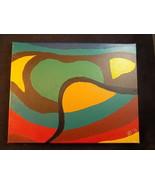 Original Handmade 11x14 Acrylic Landscape canvas Painting abstract green... - $98.99