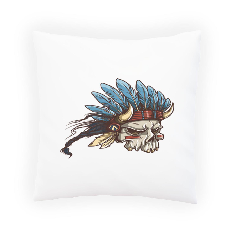 Lucifer Hindi: Skull Devil Indian Novelty Vintage Art Pillow Cushion