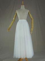 WHITE Tulle Midi Skirt A Line High Waisted Tulle Skirt Wedding Skirt image 6