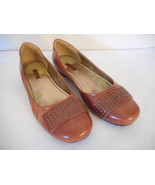 ecco Womens Leather flat Shoe 8 - 8.5  EU 39 casual Bouillion cognac - $59.39