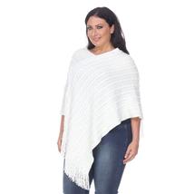 Plus Size Melisandra Fringe Poncho - White - $29.99