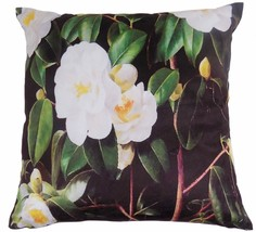 "Filled Oriental Camellia Floral Flower White Black Soft Velvet Cushion 20"" 50CM - $15.50"