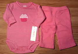 Girl's Size 3 M 0--3 Months 2 Pc Carter's Pink Striped Cupcake NWT Top &... - $19.00