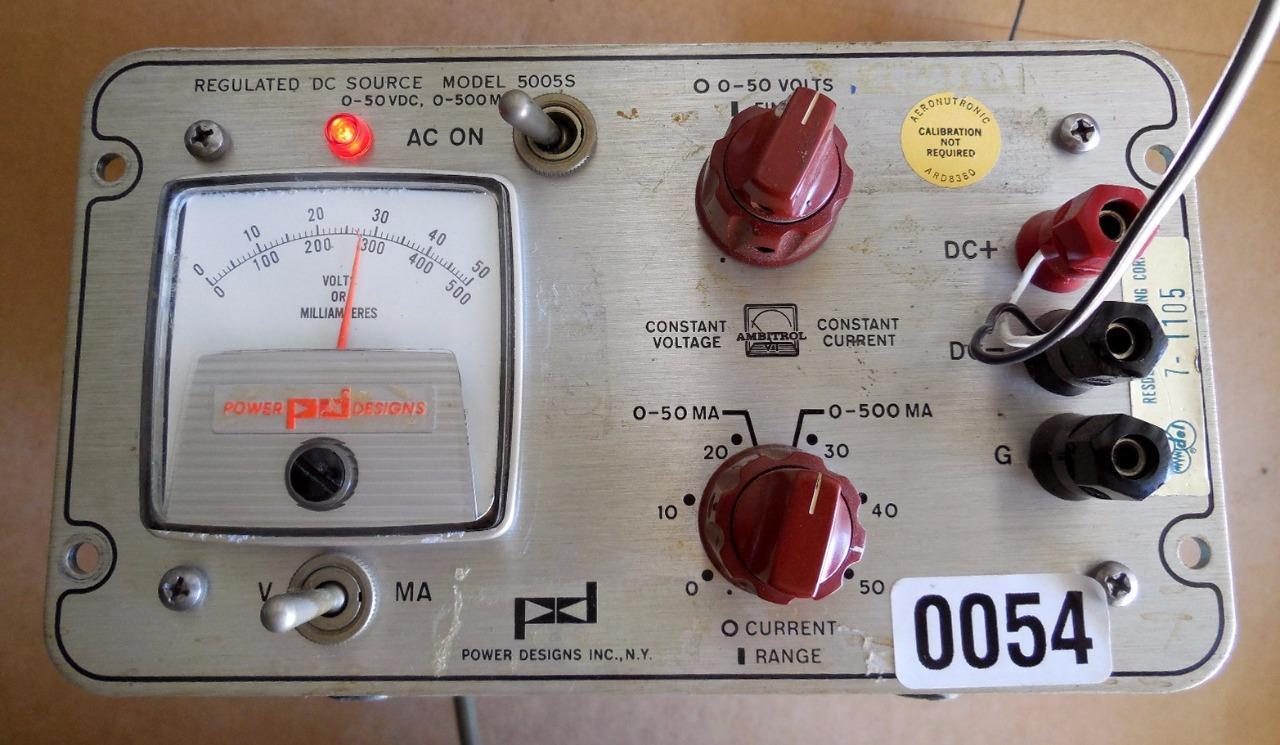 Power Designs Regulated Power Source 5005S DC Power Supply 0-50VDC, 0-500MA, - $92.43