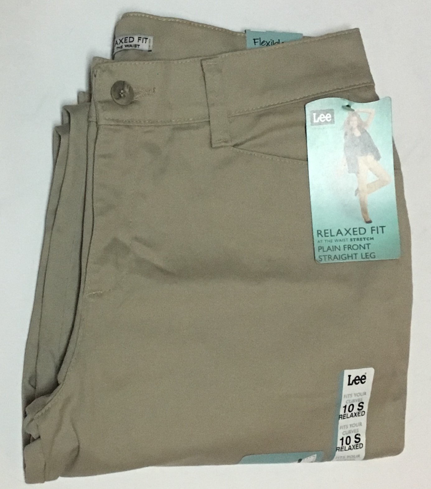 Lee Relaxed Fit Stretch Beige Pants Sz 10 Short Straight Leg NWT image 2
