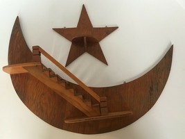 Stairway to Heaven Star Folk Art Wooden Crescent Moon Wood Wall Shelf St... - $74.99