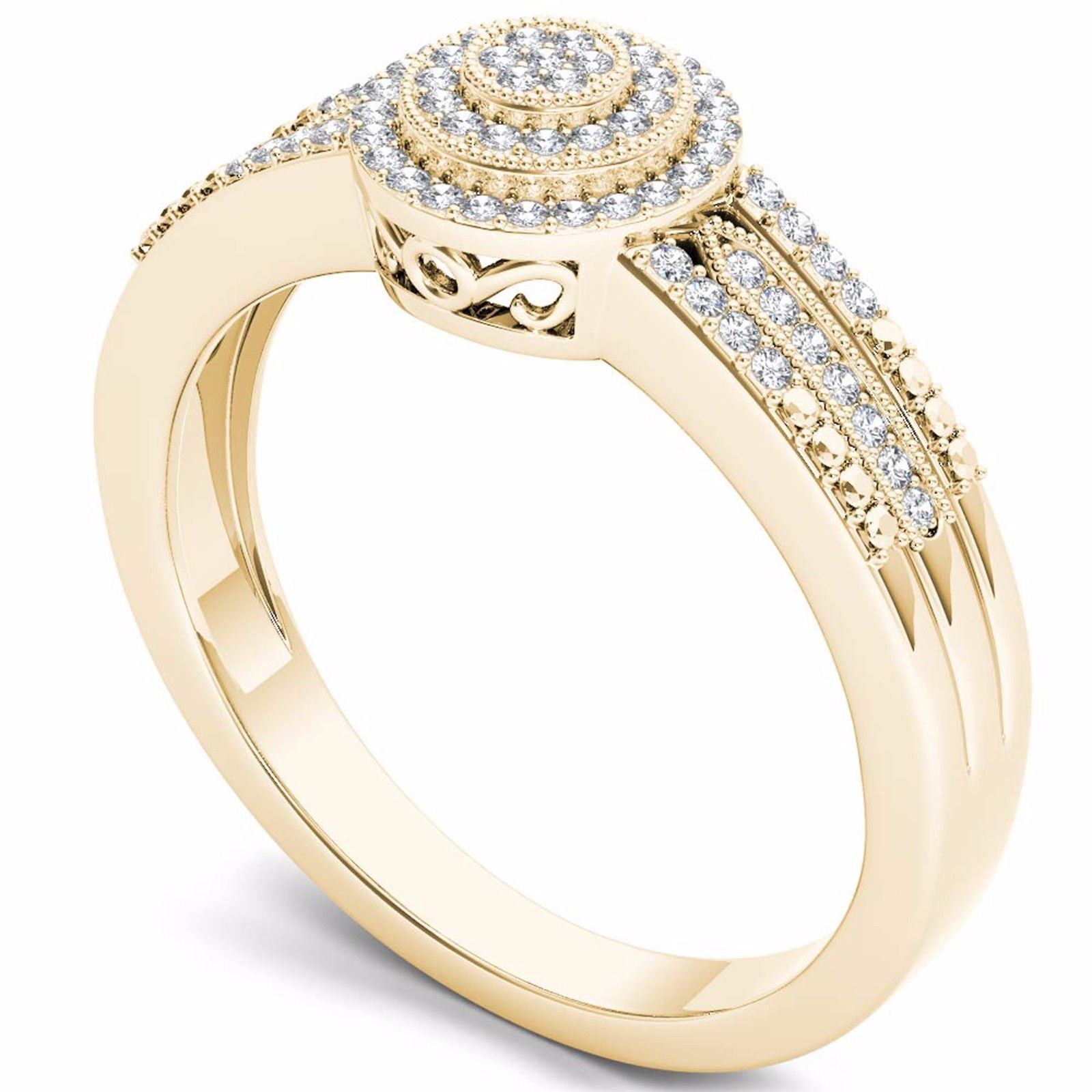IGI Certified 14k Yellow Gold 0.18 Ct Diamond Cluster Halo Engagement Ring