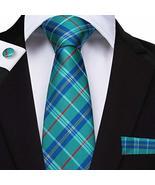 "Classic Extra Long Mens Tie Necktie Hanky Silk N-7518 (8.5""x160"") Multi ... - $17.82"