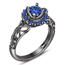 14k Black Gold Finish 925 Silver Round Cut Blue Sapphire Engagement Wedd... - $78.98