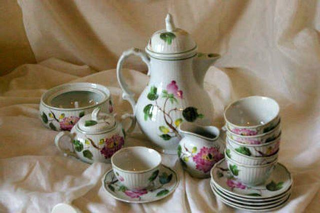 Primary image for August Warnecke 16 Piece Hybiscus Demitasse Coffee Service For 6 Bone China