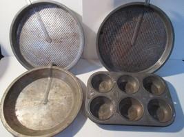 Vintage Ovenex Perfect Bakeware Pie Pan Slider Bar Ekco Starburst Cupcak... - ₹424.64 INR