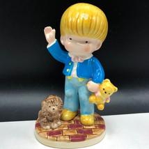 1981 JOAN WALSH ANGLUND PORCELAIN FIGURINE teddy bear boy statue puppy d... - $17.82