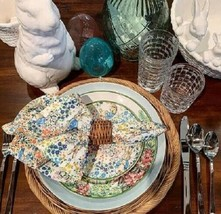 Pottery Barn Set 4 Peter Rabbit Floral Plates 7D Round Appetizer Easter - $49.50