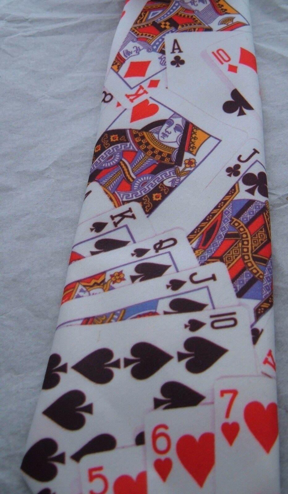 "Ralph Marlin Poker Cards Mens Neck Tie 56"" Gambler Vintage 1991 polyester image 2"