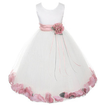 White Satin Bodice Layers Tulle Skirt Dusty Rose Flower Ribbon Brooch and Petals - $48.00