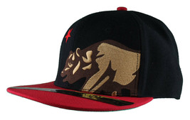 Dissizit! Side Bear Black Red Brim Snapback Cap Hat California Star Flag image 2