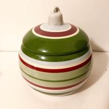 Vintage Longaberger Ceramic Christmas Ornament Sugar Candy Bowl Lid Stri... - $26.63