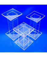 Acrylic Pedestal Risers, Made in USA, 2x2x2 to 8x8x8 - $25.99+