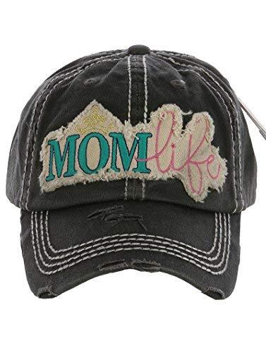 Distressed Vintage Style Mom Life Hat Baseball Cap (Dark Grey)