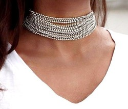 UNISEX WRAP CHOKER NECKLACE LUXURY GOLD SILVER FULLY RHINESTONE PARTY CH... - $15.99