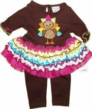 Baby girls size 24 months Thanksgiving turkey leggings set applique - $16.99