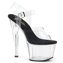"PLEASER Sexy 7"" Heel Stripper Clear & Black Platform Pole Shoes SKY308/C... - $49.95"