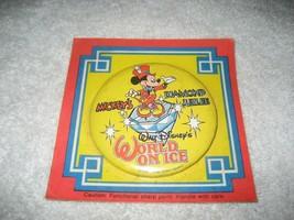 "1989 Walt Disney's mickey mouse World on Ice Pinback/Emblem 3"" Button new - $19.79"