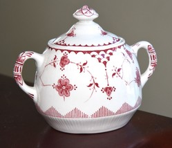 "Franciscan Erica Made In England Red White Sugar Bowl Vintage 5"" W X 4.5""H - $36.99"