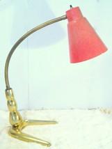 Vintage Fiberglass Desk Lamp Gooseneck Cone Brass table - $74.24