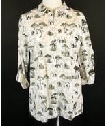 CHICO'S Size 2 (L, 12)  Elephant Print Lightweight Blouse Shirt - $24.99