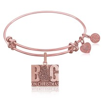 Expandable Bangle in Pink Tone Brass with Big O... - $30.96