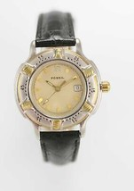 Fossil Watch Womens Stainless Silver Gold 30m Black Leather Beige Date Q... - $33.46