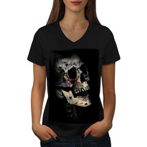 Poker Card Skeleton Skull Shirt Indian Cult Women V-Neck T-shirt - $12.99+