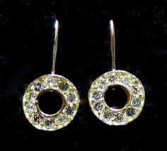 Esposito Vintage Gold Plated Clear Rhinestone Circle Drop Pierced Earrin... - $16.82