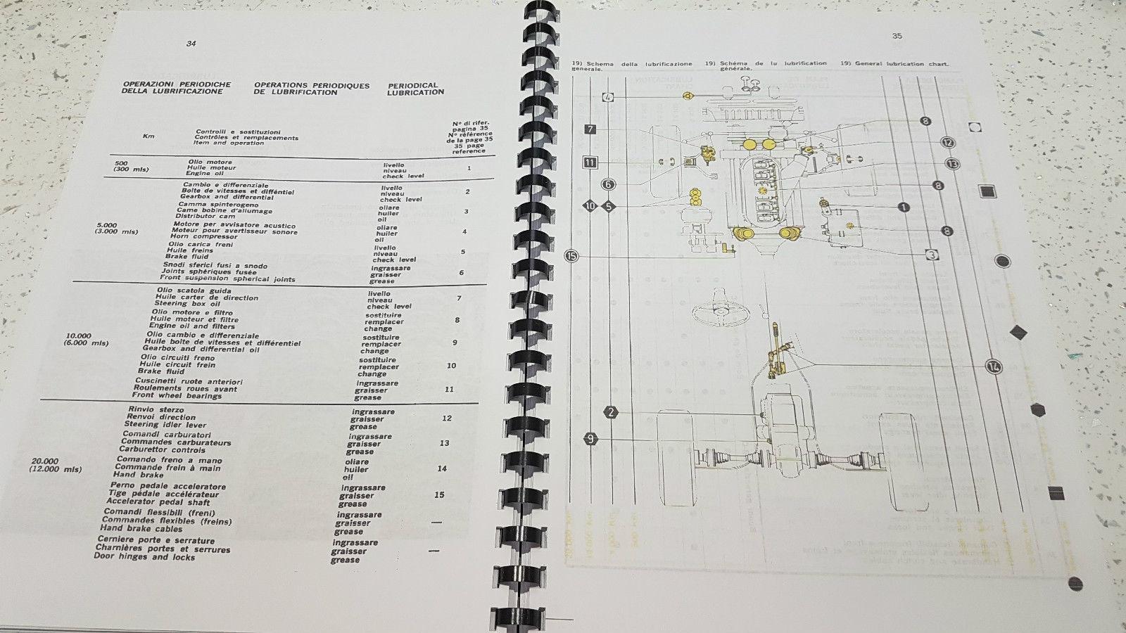 FERRARI 365 GTB//4 OPERATING MAINTENANCE /& SERVICE BOOK REPRINTED A4 COMB BOUND