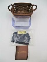 Longaberger Tea Basket Rich Warm Brown Indigo Blue Liner 40845 Protector - $49.99