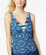 24Th Ocean Viva La Frida Printed Tankini Top Blue Multi Large - $54.45