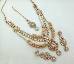 Indian Bollywood White Gold Plated Fashion Rhinestone Bridal Jewelry NecklaceSet - $35.99