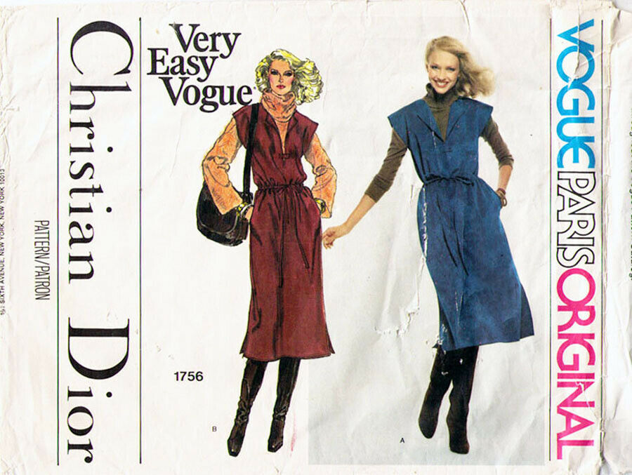 Vtg Vogue Paris Orig Christian Dior Misses' JUMPER Pattern #1756 Size 16 UNCUT