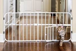 Pet Gates With Door Cat Baby Safety Lock Wide Fence Dogs Adjustable Expa... - $29.37