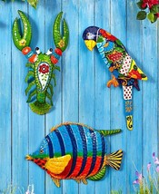 Bright Colorful Metal Wall Hanging Art Figure L... - $10.50