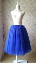 Cobalt Blue Midi Tulle Skirt 6 Layered Tulle Tutu Skirt Blue Ballerina Skirt image 3