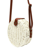 Women's White Vegan Bohemian Woven Handbag Wicker Canteen Lined Boho Chic Purse image 2