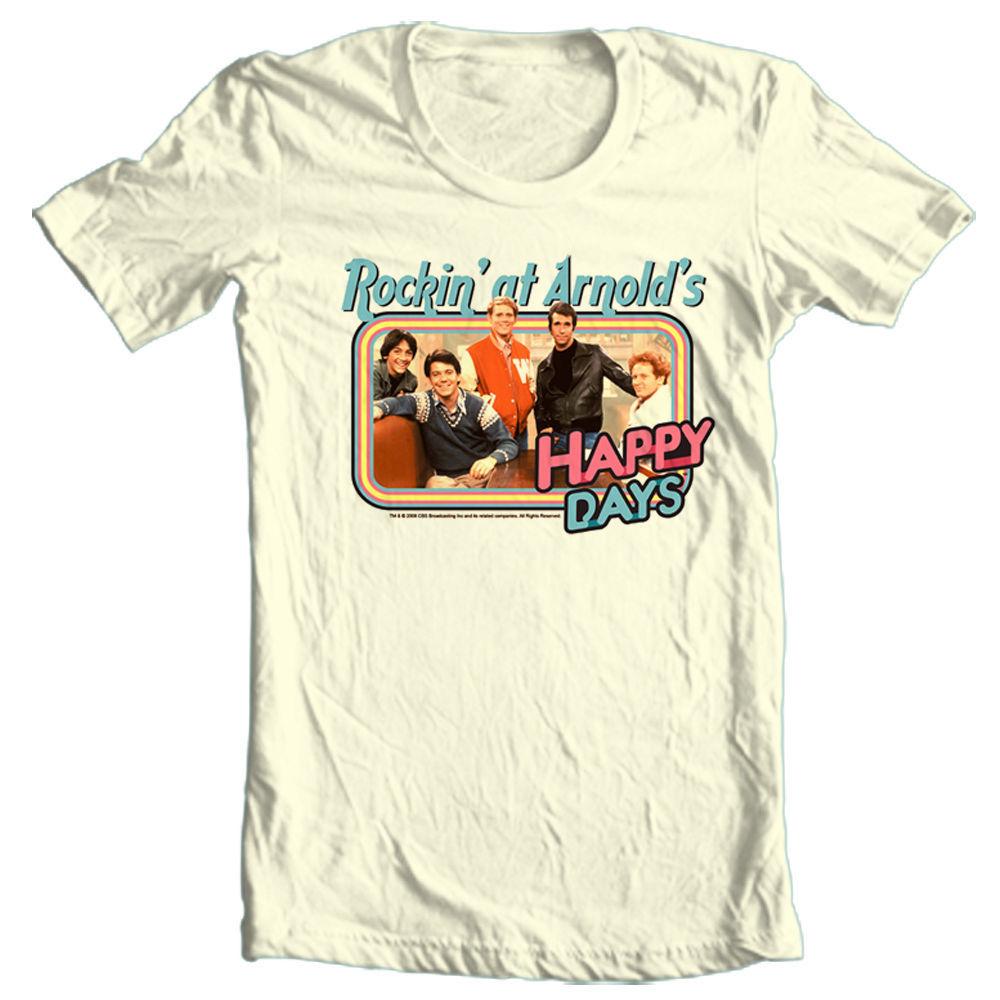 Happy days t shirt rockin at arnolds fonzie retro 70 s 80 s graphic tee