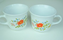Lot of 2 Corelle by Corning WildFlower Cups Mugs Orange Flower country cottage - $14.80