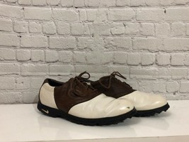Nike Men's Air Zoom Wickie Last White & Brown Saddle Leather Golf Shoes ... - $13.99
