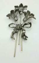 """Vintage Repousse Triple Lily Pin Brooch Silver 6"""" Bouquet of Flowers  - $19.95"""