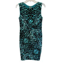 Anne Klein Green Leopard Print Sheath Dress - Size 6 Teal Black - $32.95